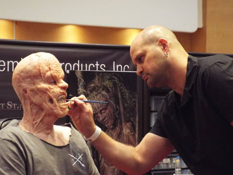 Key Makeup Artist on Batman v Superman Richard Redlefsen working his magic on the PPI stand at UMA Expo 2016