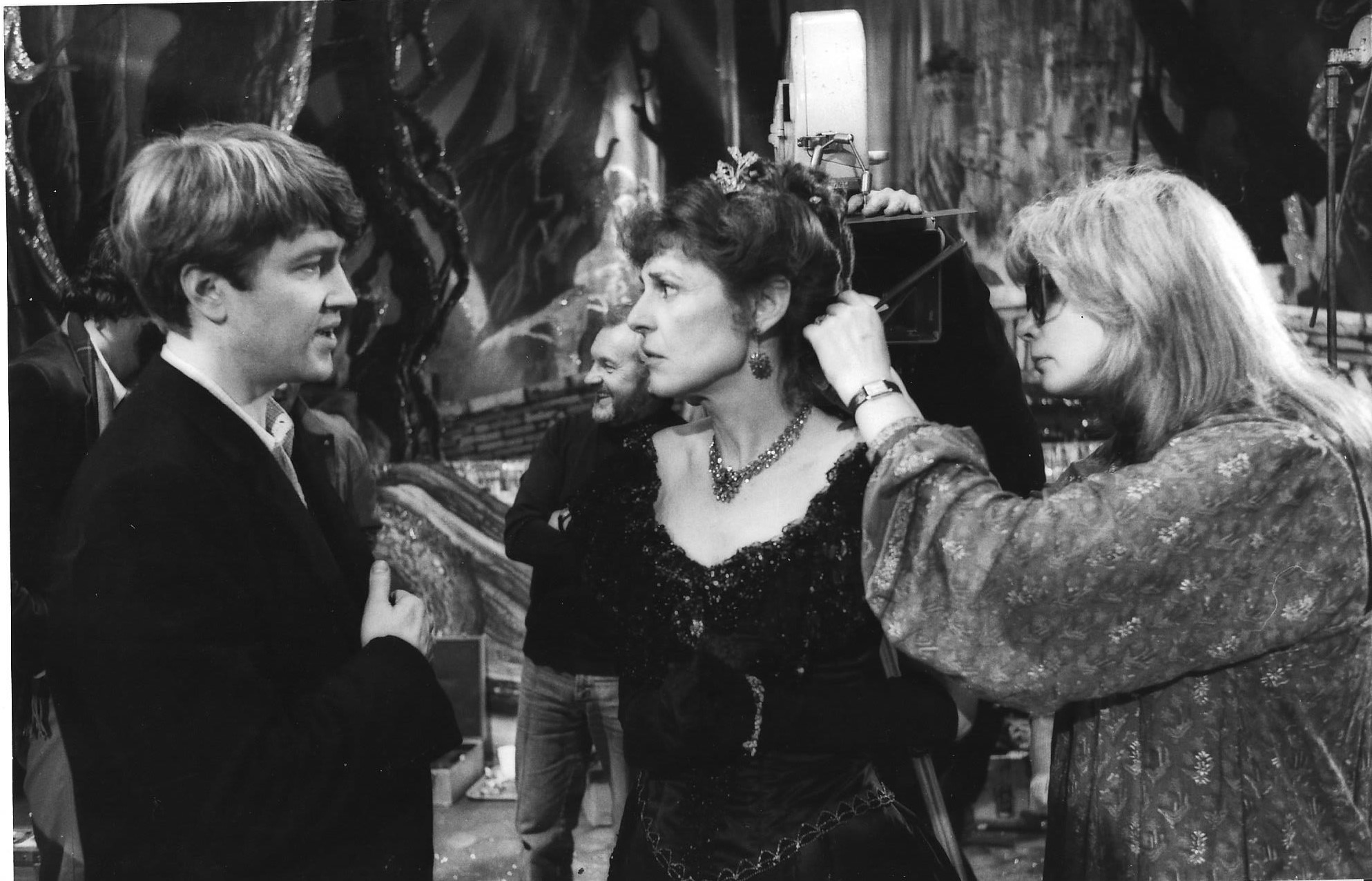 Director David Lynch and Anne Bancroft with film hairdresser Stephanie Kaye on the set of the Elephant Man