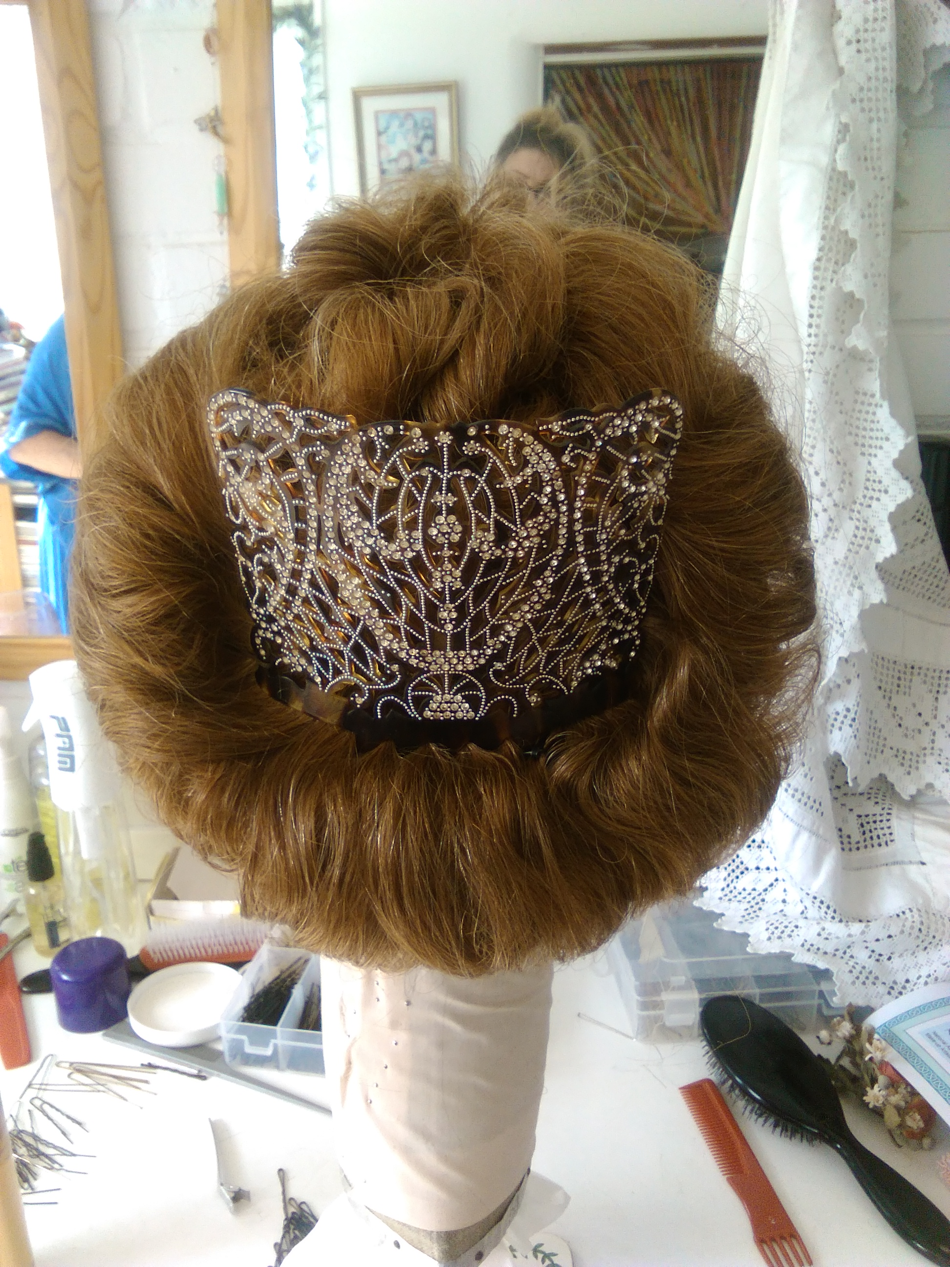 My Edwardian hairstyle was perfected with an original herringbone ornate comb from Stephanie's wonderful collection