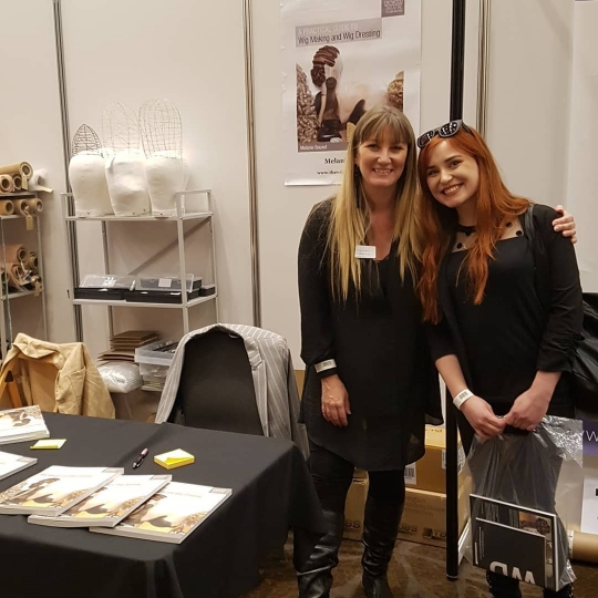 The Author of A Practical Guide to Wig Making and Wig Dressing - Melanie Bouvet - signing copies for fans at this year's UMA Expo in London.